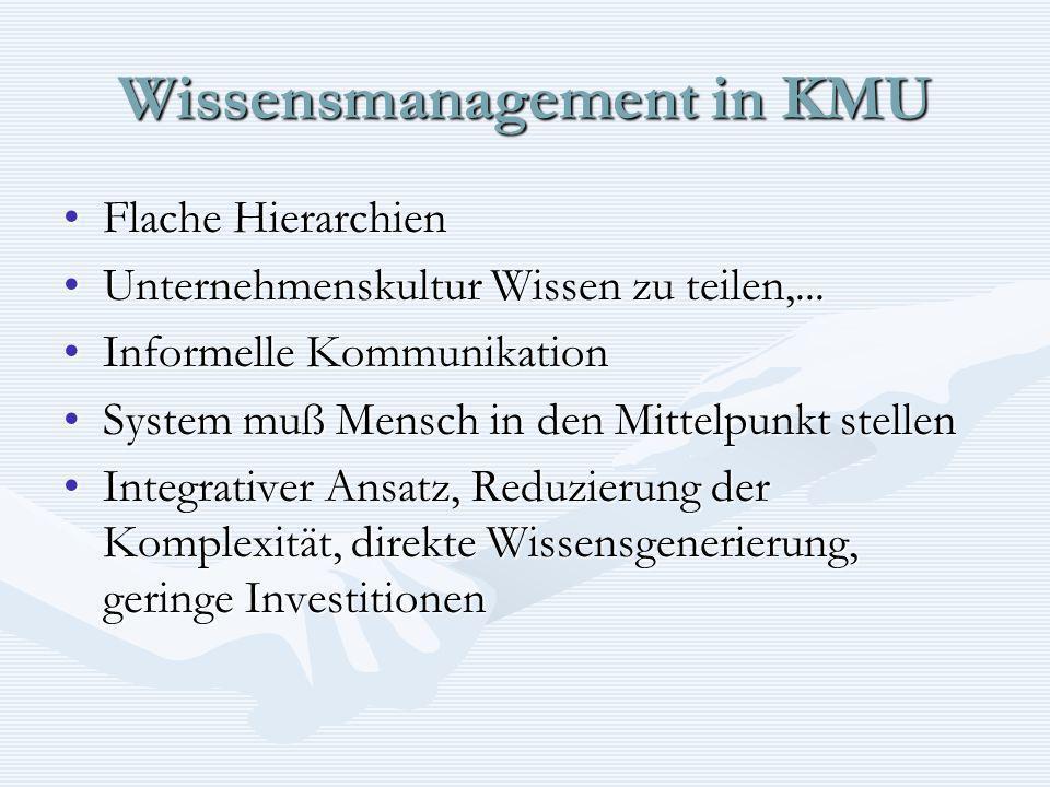 Wissensmanagement in KMU Flache HierarchienFlache Hierarchien Unternehmenskultur Wissen zu teilen,...Unternehmenskultur Wissen zu teilen,... Informell