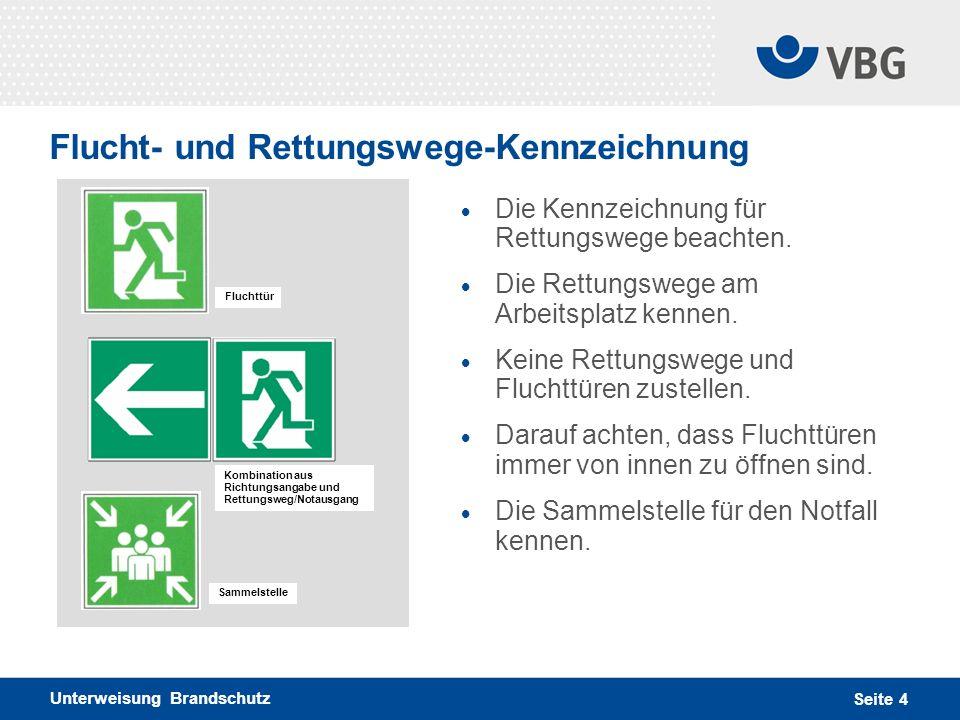 Unterweisung Brandschutz Seite 4 Flucht- und Rettungswege-Kennzeichnung Die Kennzeichnung für Rettungswege beachten. Die Rettungswege am Arbeitsplatz