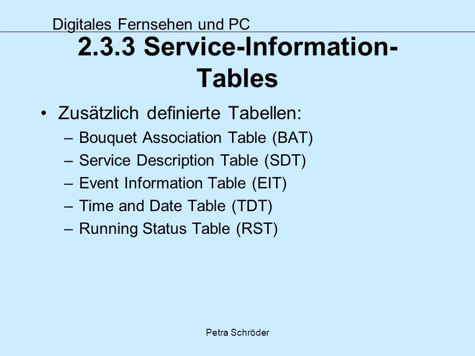 Digitales Fernsehen und PC Petra Schröder 2.3.3 Service-Information- Tables Zusätzlich definierte Tabellen: –Bouquet Association Table (BAT) –Service