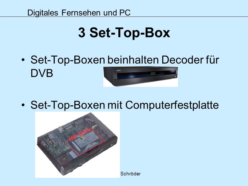 Digitales Fernsehen und PC Petra Schröder 3 Set-Top-Box Set-Top-Boxen beinhalten Decoder für DVB Set-Top-Boxen mit Computerfestplatte