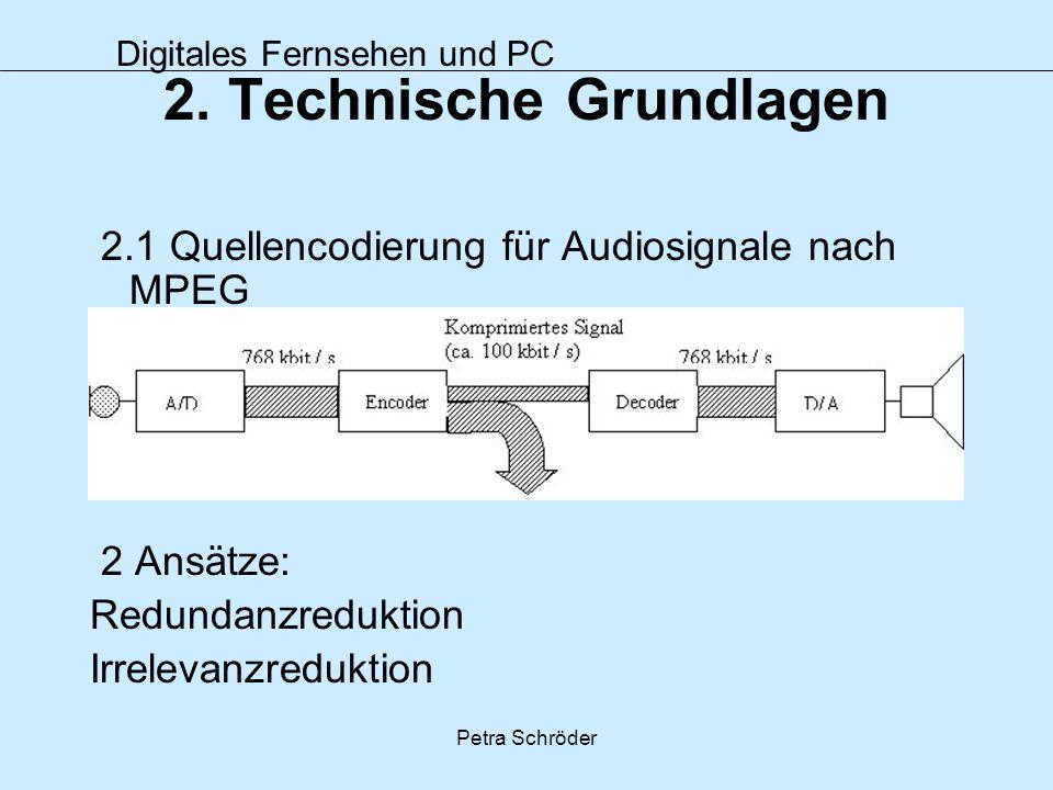Digitales Fernsehen und PC Petra Schröder 2. Technische Grundlagen 2.1 Quellencodierung für Audiosignale nach MPEG 2 Ansätze: Redundanzreduktion Irrel