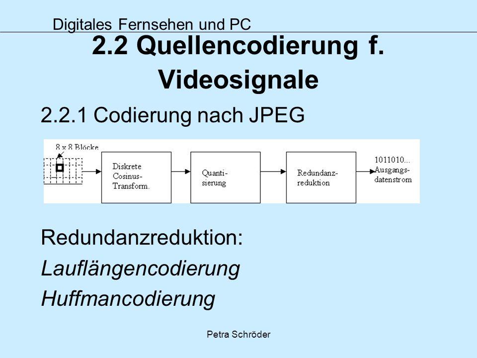 Digitales Fernsehen und PC Petra Schröder 2.2 Quellencodierung f. Videosignale 2.2.1 Codierung nach JPEG Redundanzreduktion: Lauflängencodierung Huffm
