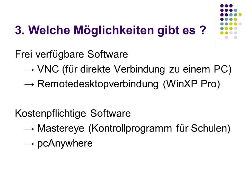 3. Welche Möglichkeiten gibt es ? Frei verfügbare Software VNC (für direkte Verbindung zu einem PC) Remotedesktopverbindung (WinXP Pro) Kostenpflichti