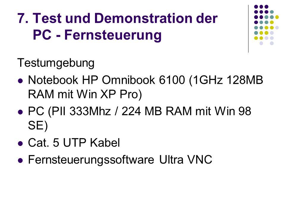 7. Test und Demonstration der PC - Fernsteuerung Testumgebung Notebook HP Omnibook 6100 (1GHz 128MB RAM mit Win XP Pro) PC (PII 333Mhz / 224 MB RAM mi