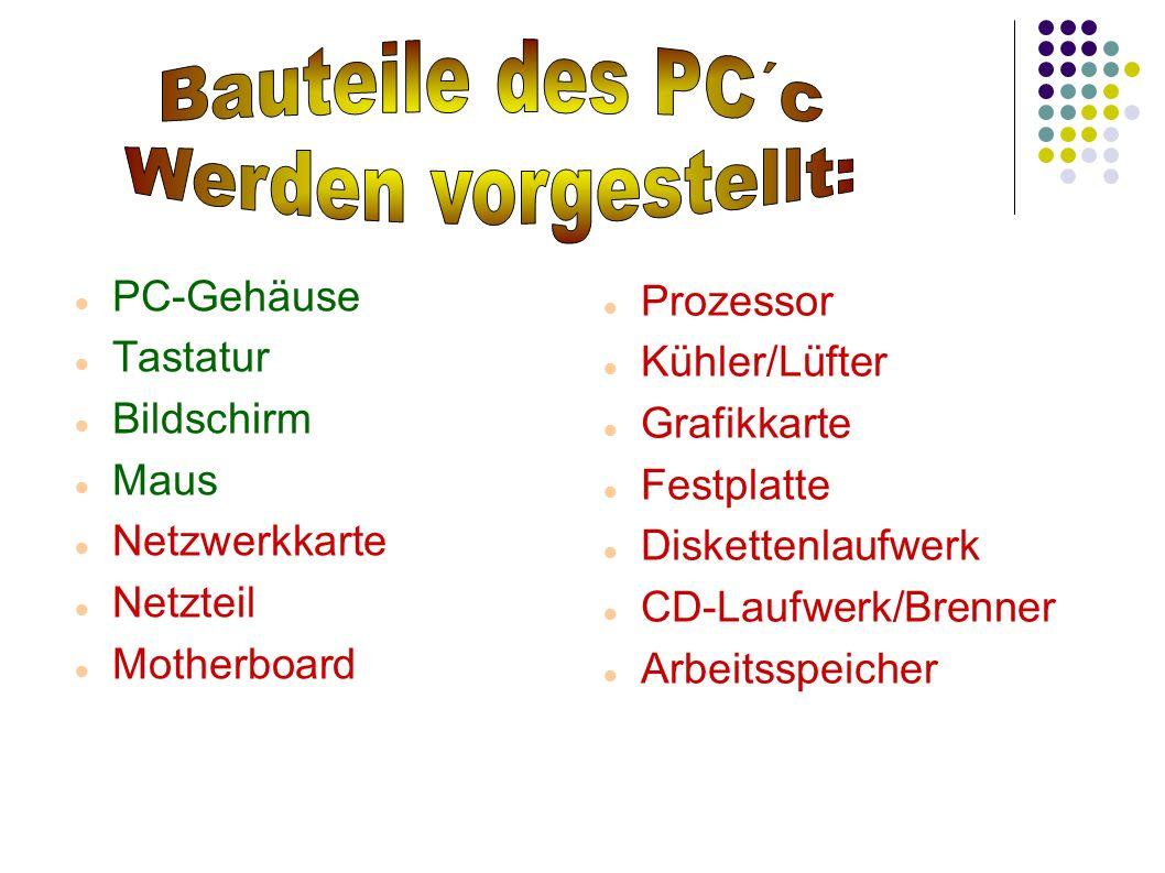 PC-Gehäuse Tastatur Bildschirm Maus Netzwerkkarte Netzteil Motherboard Prozessor Kühler/Lüfter Grafikkarte Festplatte Diskettenlaufwerk CD-Laufwerk/Br