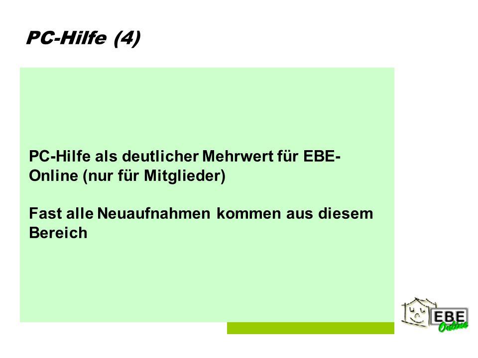 Folie 5 PC-Hilfe (4) PC-Hilfe als deutlicher Mehrwert für EBE- Online (nur für Mitglieder) Fast alle Neuaufnahmen kommen aus diesem Bereich