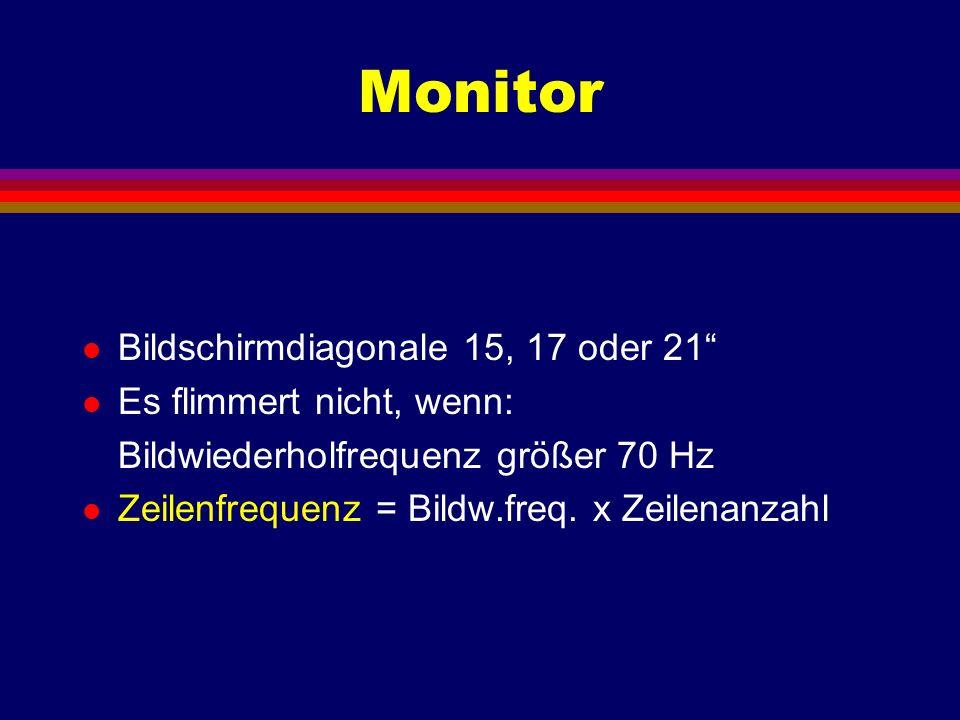 Monitor l Bildschirmdiagonale 15, 17 oder 21 l Es flimmert nicht, wenn: Bildwiederholfrequenz größer 70 Hz l Zeilenfrequenz = Bildw.freq. x Zeilenanza