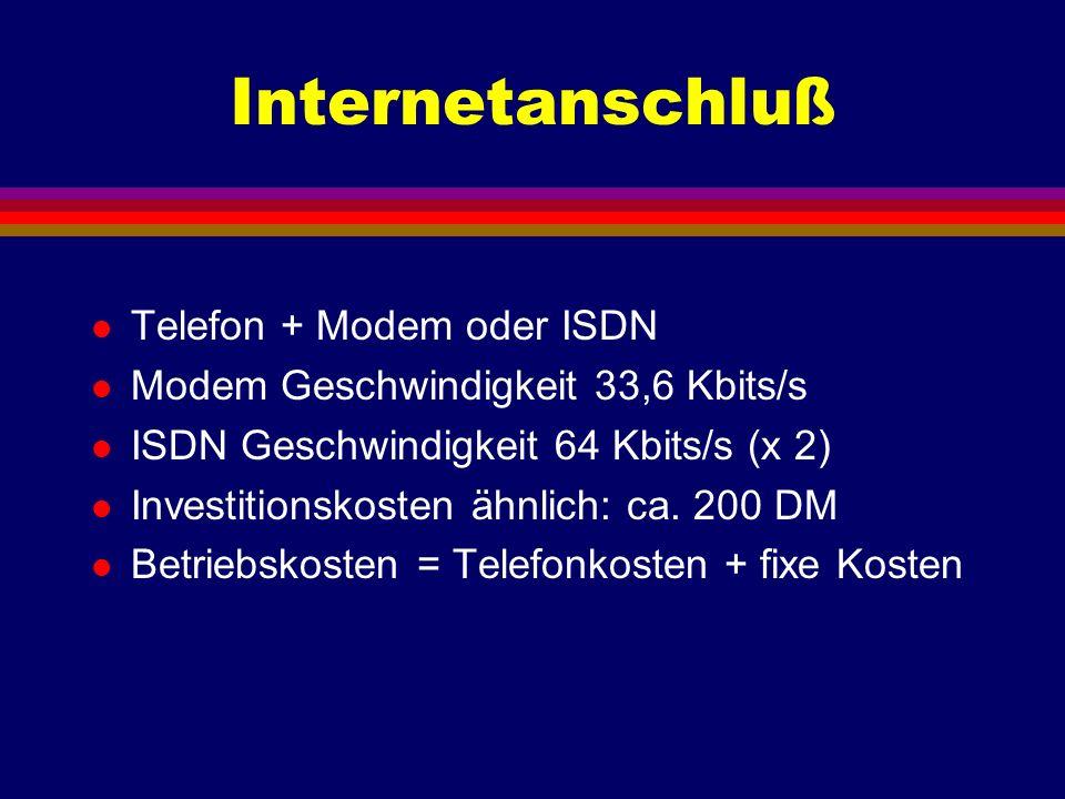 Internetanschluß l Telefon + Modem oder ISDN l Modem Geschwindigkeit 33,6 Kbits/s l ISDN Geschwindigkeit 64 Kbits/s (x 2) l Investitionskosten ähnlich