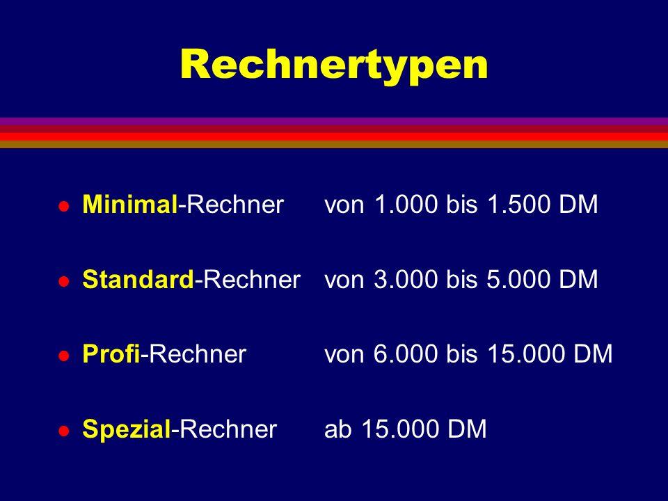 Minimal-Rechner l Preis von 1.000 bis 1.500 DM l Rechner und Monitor l Prozessor Pentium II oder AMD K6 l RAM 16 MB l Festplatte ab 2,4 GB, EIDE l Grafikkarte SVGA, 1 MB