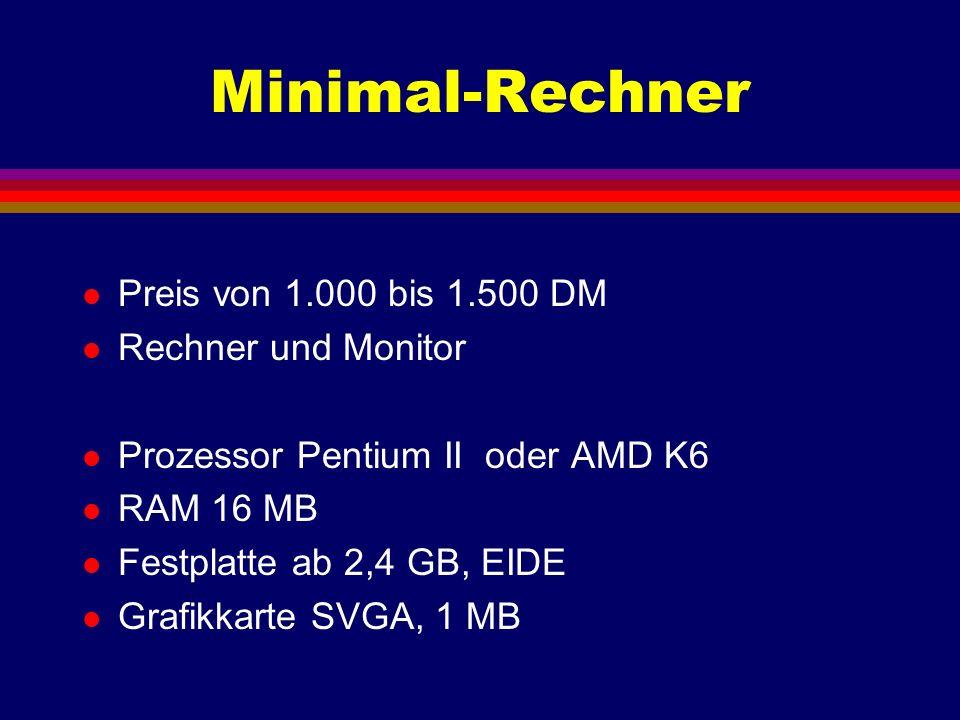 Standard-Rechner l Preis von 3.000 bis 5.000 DM l Rechner, Monitor und Drucker l Pentium II 400 oder 450 MHz l RAM 128 MB l Festplatte 6 bis 12 GB l Grafikkarte 16 MB, AGP