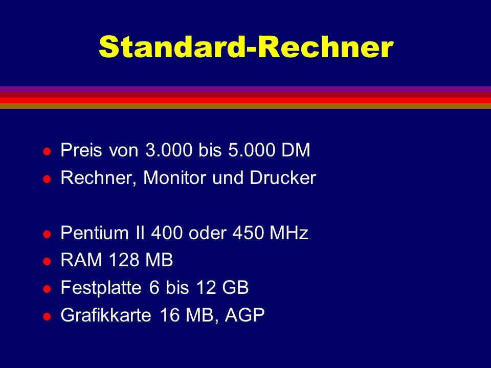 Standard-Rechner l Preis von 3.000 bis 5.000 DM l Rechner, Monitor und Drucker l Pentium II 400 oder 450 MHz l RAM 128 MB l Festplatte 6 bis 12 GB l G
