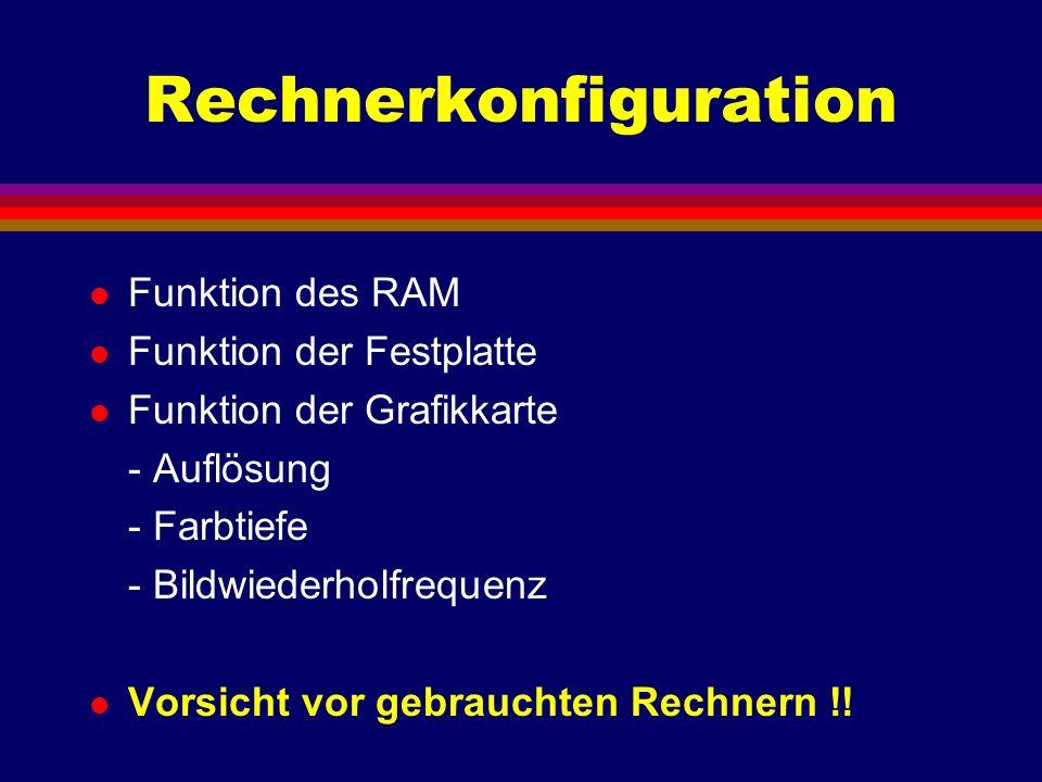 Rechnerkonfiguration l Funktion des RAM l Funktion der Festplatte l Funktion der Grafikkarte - Auflösung - Farbtiefe - Bildwiederholfrequenz l Vorsich