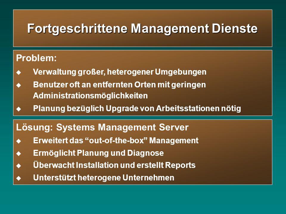 Lösung: Systems Management Server Erweitert das out-of-the-box Management Ermöglicht Planung und Diagnose Überwacht Installation und erstellt Reports