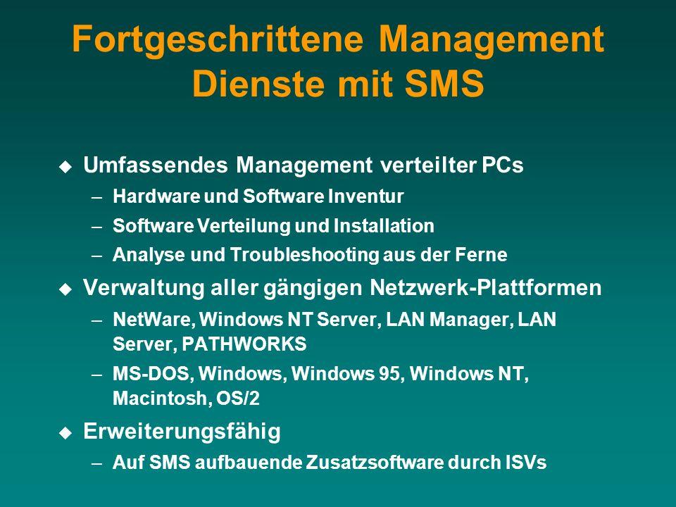 Fortgeschrittene Management Dienste mit SMS Umfassendes Management verteilter PCs –Hardware und Software Inventur –Software Verteilung und Installatio