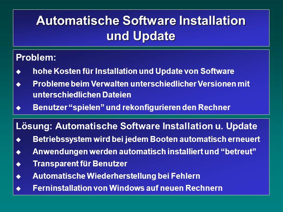 Lösung: Automatische Software Installation u. Update Betriebssystem wird bei jedem Booten automatisch erneuert Anwendungen werden automatisch installi