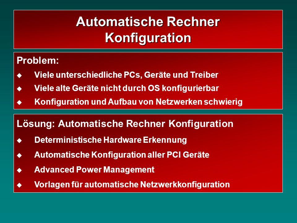 Lösung: Automatische Rechner Konfiguration Deterministische Hardware Erkennung Automatische Konfiguration aller PCI Geräte Advanced Power Management V