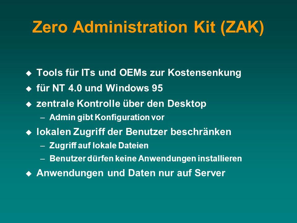 Zero Administration Kit (ZAK) Tools für ITs und OEMs zur Kostensenkung für NT 4.0 und Windows 95 zentrale Kontrolle über den Desktop –Admin gibt Konfi