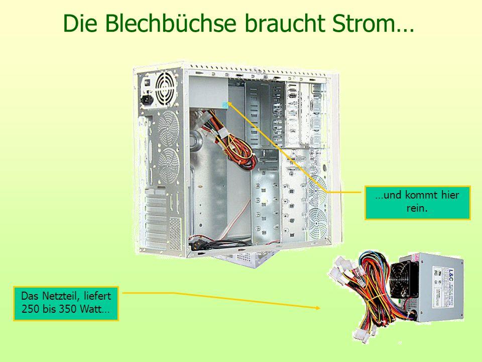 Die Blechbüchse braucht Strom… Das Netzteil, liefert 250 bis 350 Watt… …und kommt hier rein.