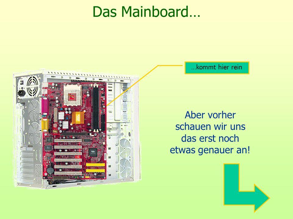Auf dem Mainboard… Stromzufuhr vom Netzteil Anschluss für das Diskettenlaufwerk Diskettenlaufwerk Anschlüsse für CD- Laufwerke und FestplattenCD- Laufwerke und Festplatten Gehäuseanschlüsse für Schalter und Kontrollleuchten CMOS- Batterie BIOS- Chip Anschlusskabel für Laufwerke (Flachband) Versorgt BIOS und die PC-Uhr mit Strom Basic Input Output System: Kontrolliert alle Elemente auf dem Mainboard