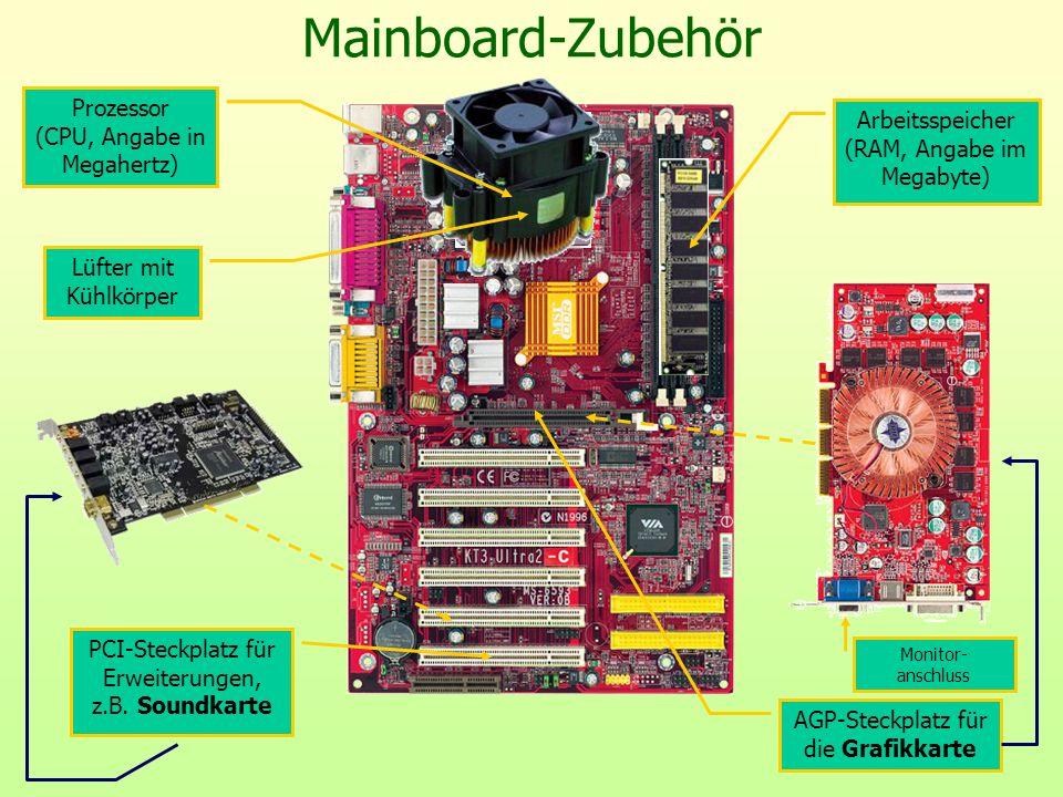 Mainboard-Zubehör Prozessor (CPU, Angabe in Megahertz) Lüfter mit Kühlkörper Arbeitsspeicher (RAM, Angabe im Megabyte) PCI-Steckplatz für Erweiterunge