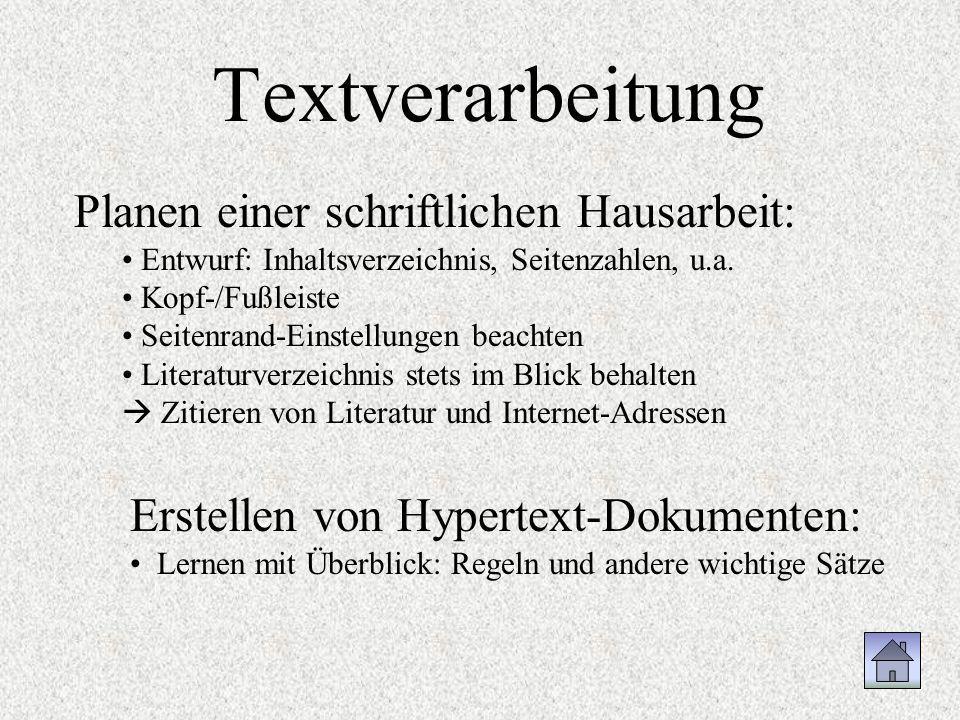 Textverarbeitung Planen einer schriftlichen Hausarbeit: Entwurf: Inhaltsverzeichnis, Seitenzahlen, u.a. Kopf-/Fußleiste Seitenrand-Einstellungen beach