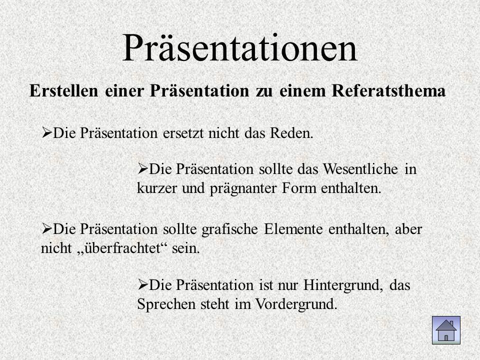 Präsentationen Erstellen einer Präsentation zu einem Referatsthema Die Präsentation ist nur Hintergrund, das Sprechen steht im Vordergrund. Die Präsen