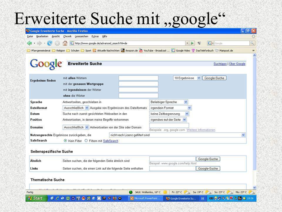 Erweiterte Suche mit google