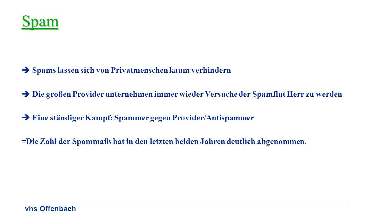vhs Offenbach Spam Spams lassen sich von Privatmenschen kaum verhindern Die großen Provider unternehmen immer wieder Versuche der Spamflut Herr zu wer