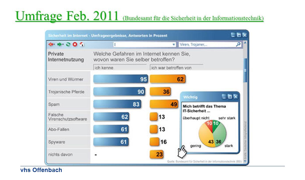 vhs Offenbach Umfrage Feb. 2011 (Bundesamt für die Sicherheit in der Informationstechnik)
