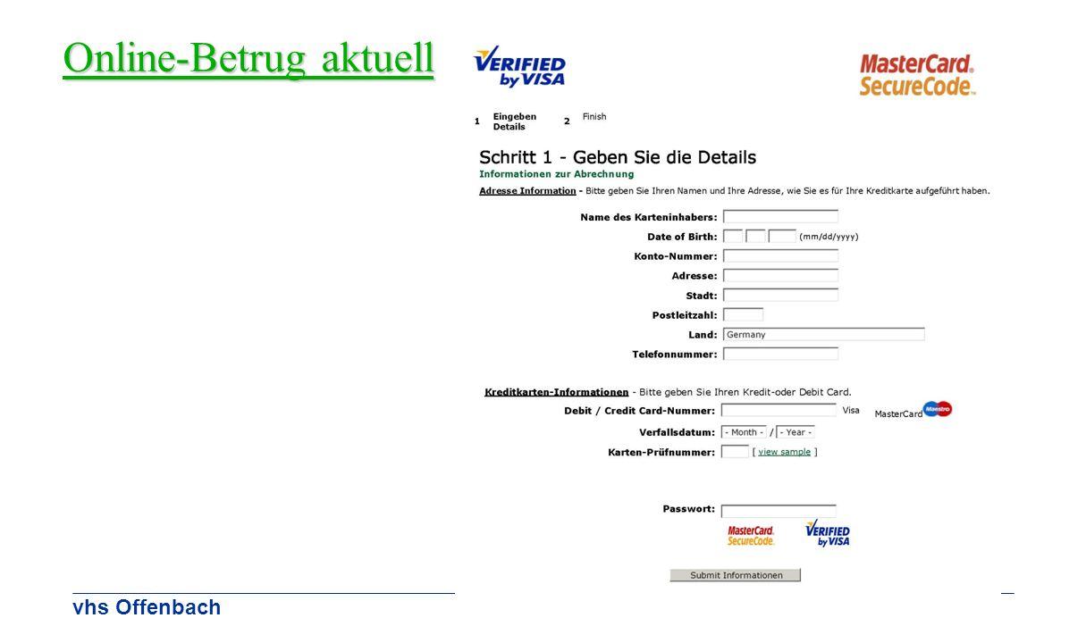 vhs Offenbach Online-Betrug aktuell