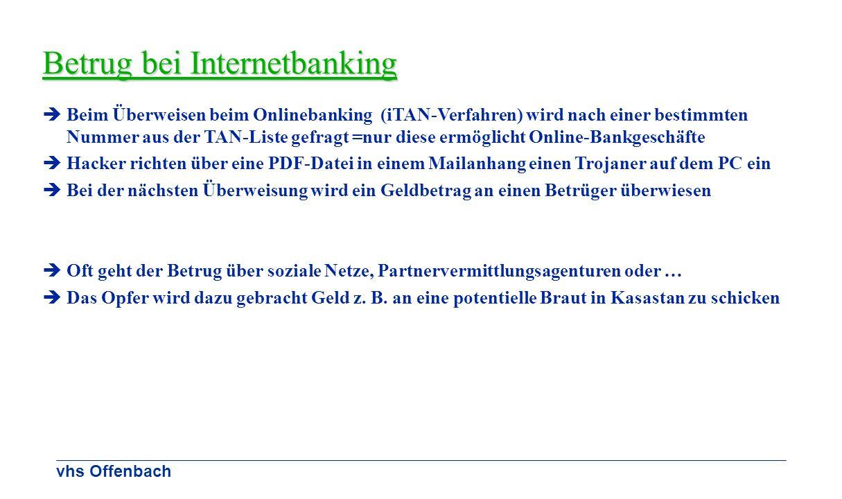 vhs Offenbach Betrug bei Internetbanking Beim Überweisen beim Onlinebanking (iTAN-Verfahren) wird nach einer bestimmten Nummer aus der TAN-Liste gefra