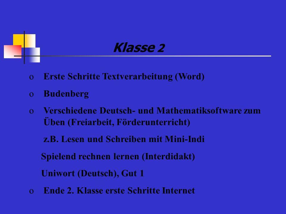 Klasse 2 oErste Schritte Textverarbeitung (Word) oBudenberg oVerschiedene Deutsch- und Mathematiksoftware zum Üben (Freiarbeit, Förderunterricht) z.B.