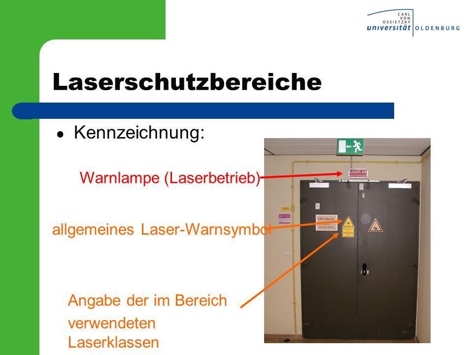 Laserschutzbereiche Kennzeichnung: allgemeines Laser-Warnsymbol Warnlampe (Laserbetrieb) Angabe der im Bereich verwendeten Laserklassen