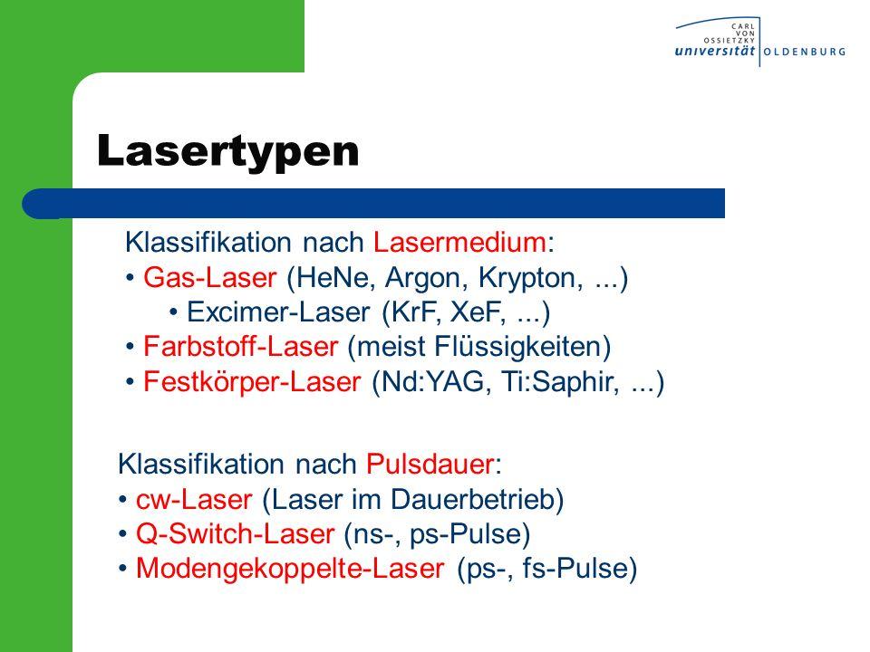 Lasertypen Klassifikation nach Lasermedium: Gas-Laser (HeNe, Argon, Krypton,...) Excimer-Laser (KrF, XeF,...) Farbstoff-Laser (meist Flüssigkeiten) Fe