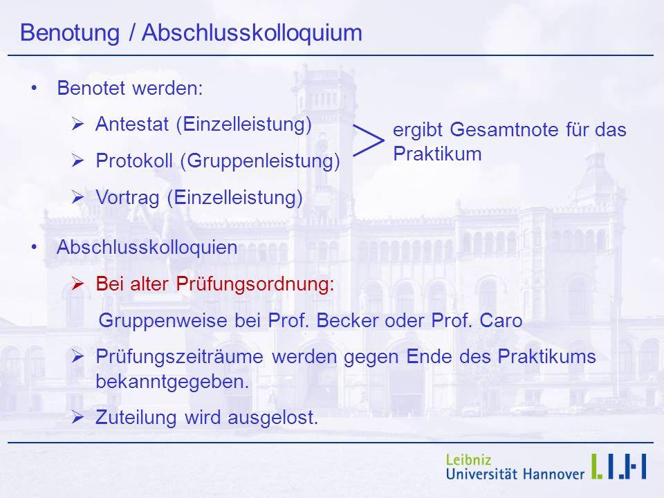 Benotung / Abschlusskolloquium Benotet werden: Antestat (Einzelleistung) Protokoll (Gruppenleistung) Vortrag (Einzelleistung) Abschlusskolloquien Bei