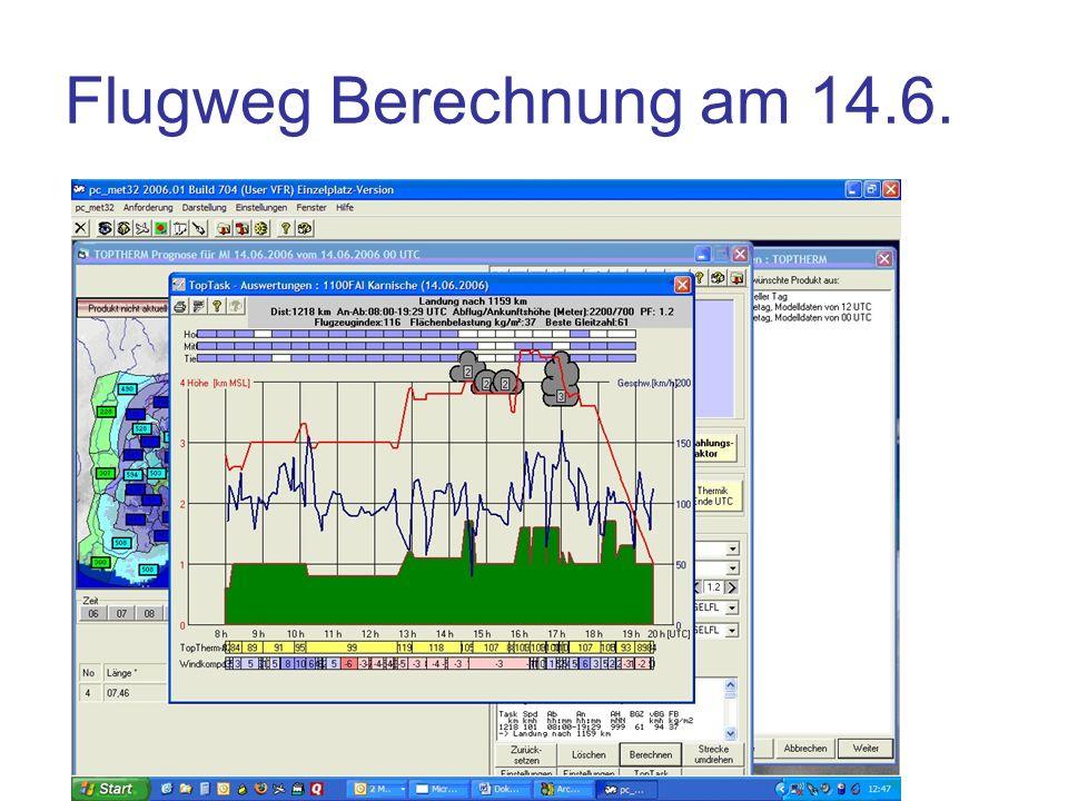 Flugweg Berechnung am 14.6.