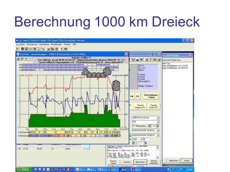 Berechnung 1000 km Dreieck
