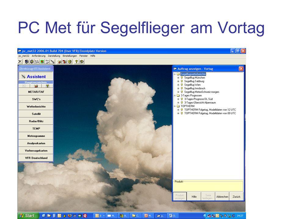 PC Met für Segelflieger am Vortag