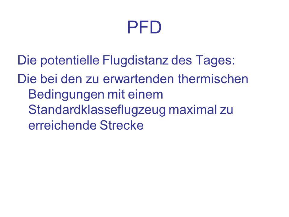 PFD Die potentielle Flugdistanz des Tages: Die bei den zu erwartenden thermischen Bedingungen mit einem Standardklasseflugzeug maximal zu erreichende