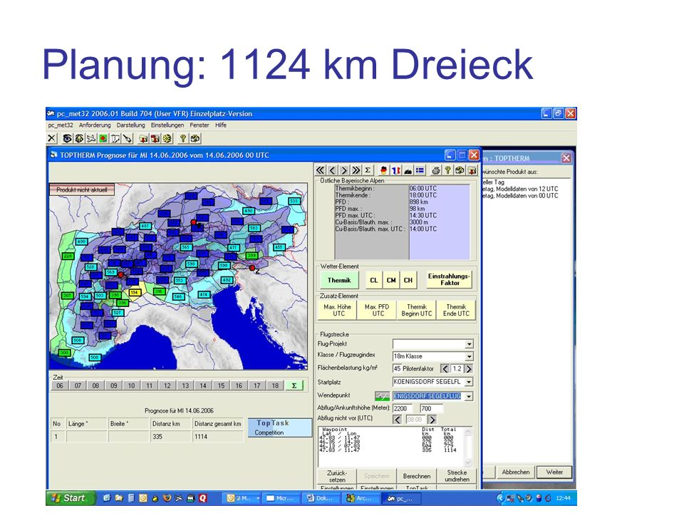 Planung: 1124 km Dreieck