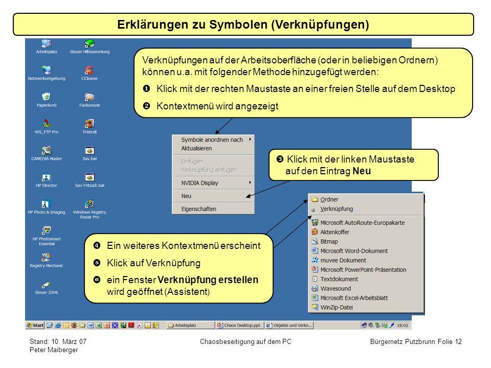 Stand: 10. März 07 Peter Maiberger Chaosbeseitigung auf dem PCBürgernetz Putzbrunn Folie 12 Erklärungen zu Symbolen (Verknüpfungen) Verknüpfungen auf