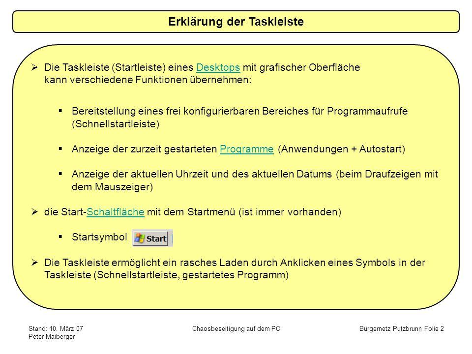 Stand: 10. März 07 Peter Maiberger Chaosbeseitigung auf dem PCBürgernetz Putzbrunn Folie 2 Die Taskleiste (Startleiste) eines Desktops mit grafischer