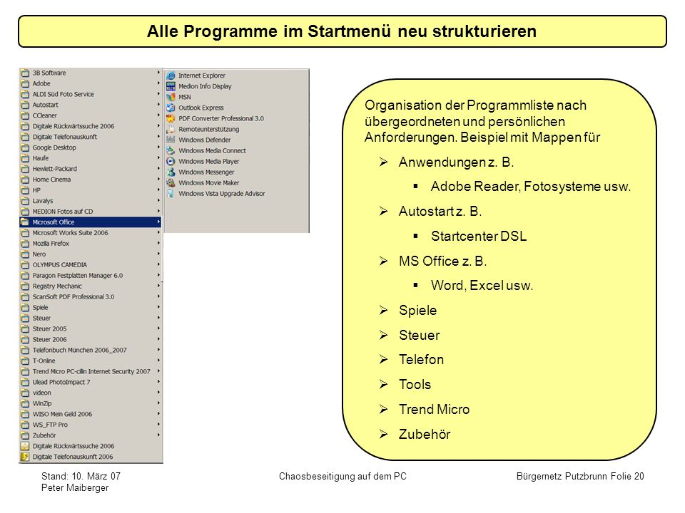 Stand: 10. März 07 Peter Maiberger Chaosbeseitigung auf dem PCBürgernetz Putzbrunn Folie 20 Alle Programme im Startmenü neu strukturieren Organisation