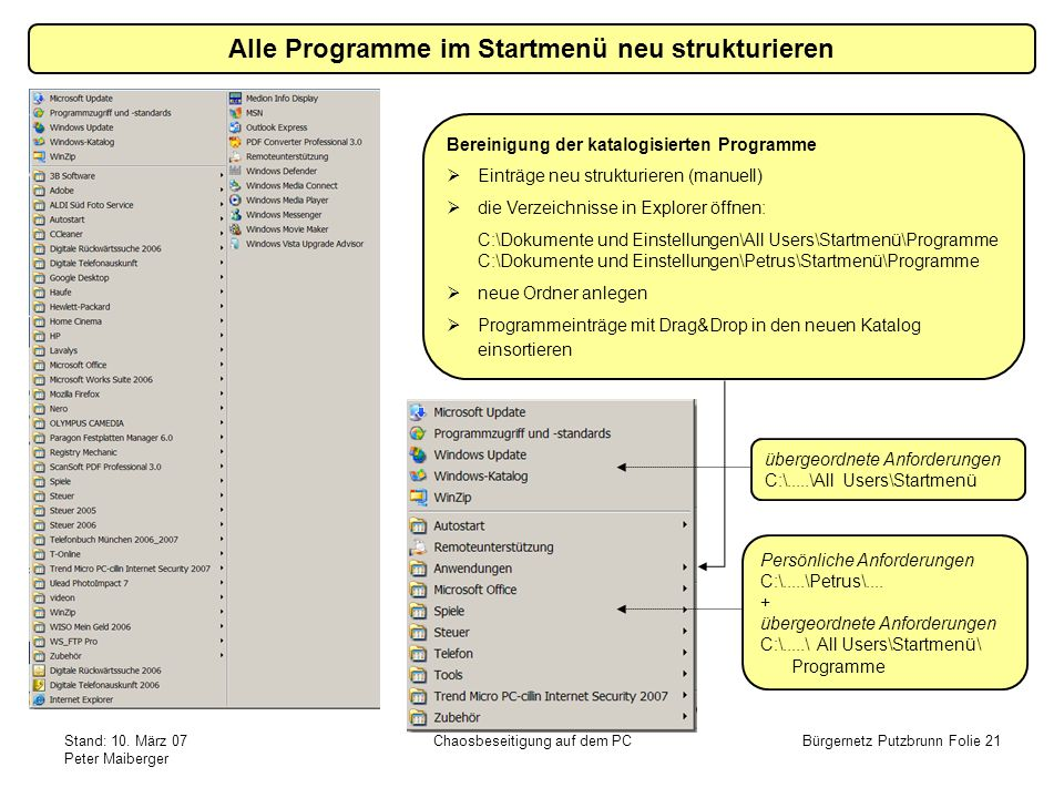 Stand: 10. März 07 Peter Maiberger Chaosbeseitigung auf dem PCBürgernetz Putzbrunn Folie 21 Alle Programme im Startmenü neu strukturieren Bereinigung