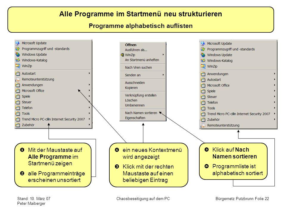 Stand: 10. März 07 Peter Maiberger Chaosbeseitigung auf dem PCBürgernetz Putzbrunn Folie 22 Alle Programme im Startmenü neu strukturieren Programme al