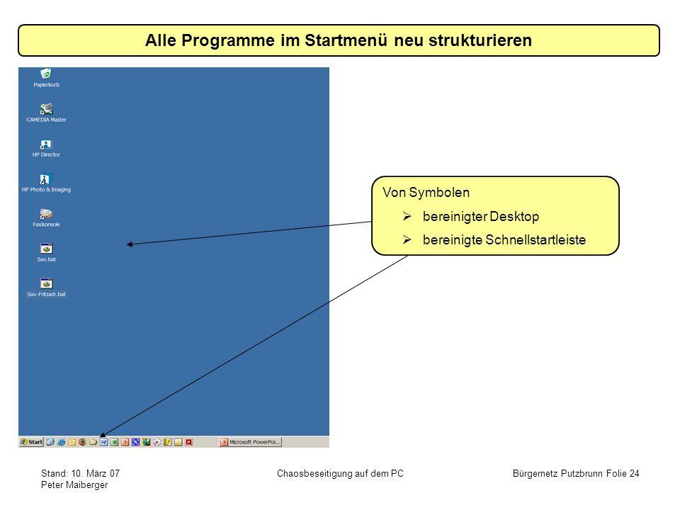 Stand: 10. März 07 Peter Maiberger Chaosbeseitigung auf dem PCBürgernetz Putzbrunn Folie 24 Alle Programme im Startmenü neu strukturieren Von Symbolen