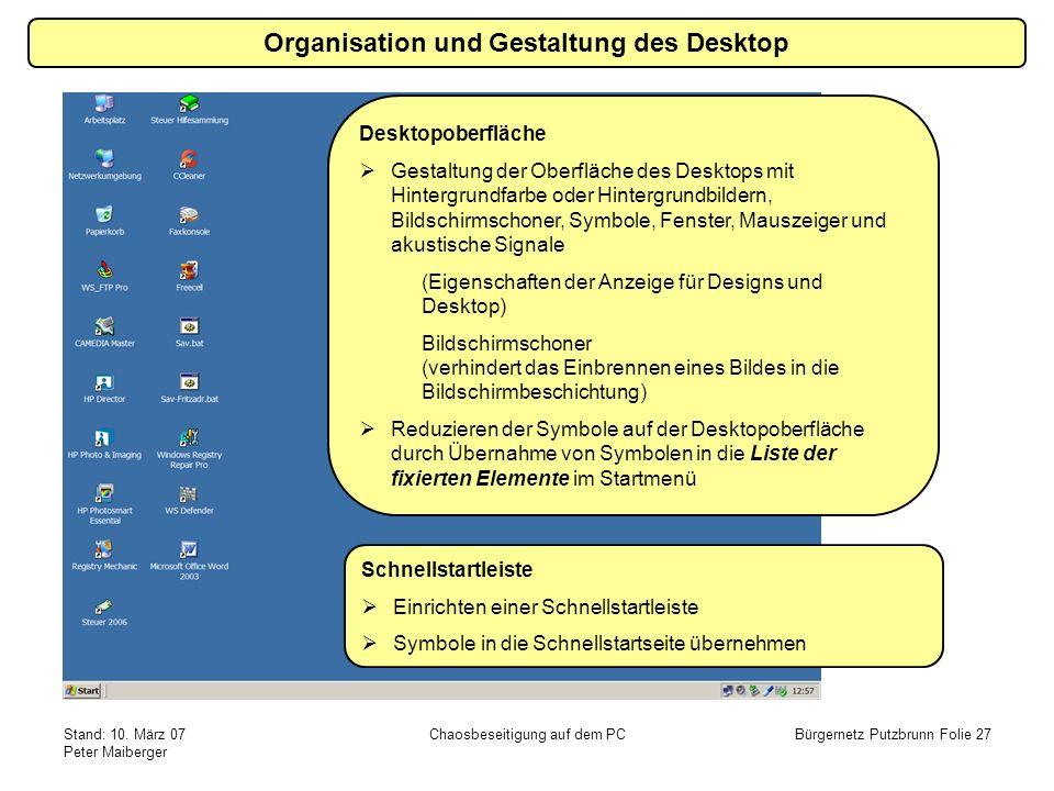 Stand: 10. März 07 Peter Maiberger Chaosbeseitigung auf dem PCBürgernetz Putzbrunn Folie 27 Organisation und Gestaltung des Desktop Schnellstartleiste