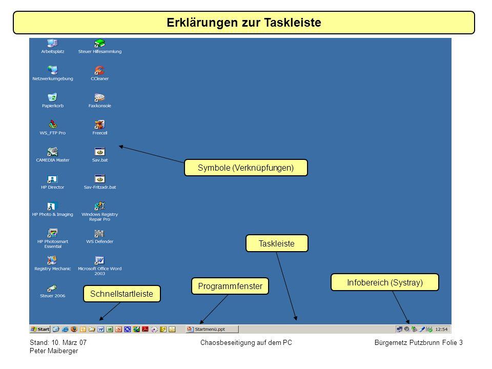 Stand: 10. März 07 Peter Maiberger Chaosbeseitigung auf dem PCBürgernetz Putzbrunn Folie 3 Erklärungen zur Taskleiste Taskleiste Infobereich (Systray)