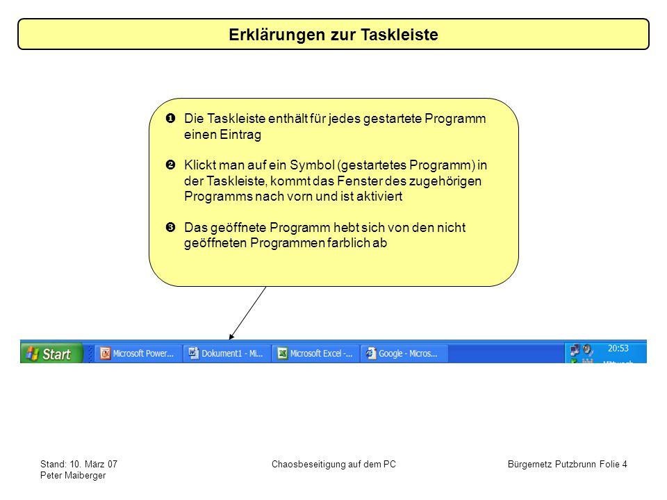 Stand: 10. März 07 Peter Maiberger Chaosbeseitigung auf dem PCBürgernetz Putzbrunn Folie 4 Erklärungen zur Taskleiste Die Taskleiste enthält für jedes