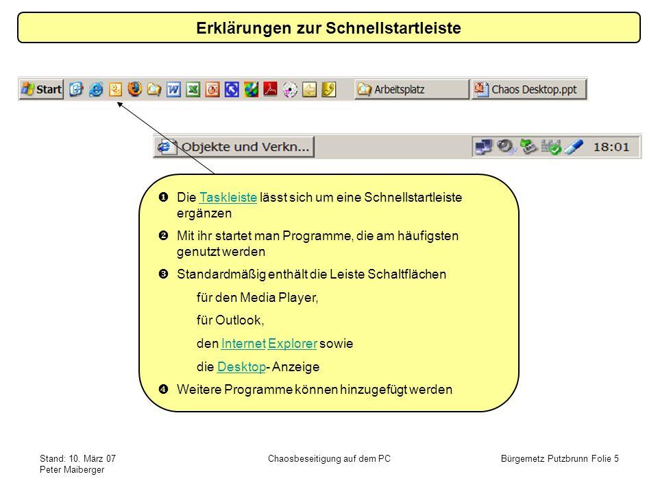 Stand: 10. März 07 Peter Maiberger Chaosbeseitigung auf dem PCBürgernetz Putzbrunn Folie 5 Erklärungen zur Schnellstartleiste Die Taskleiste lässt sic